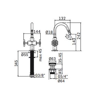"""HIPSTER 5238 MIX BIDET 1 FORO CON BOCCA GIREVOLE TUBI FLESSIBILE PILETTA 5/4"""" CROMATO codice prod: 523800000051 product photo Foto1 L2"""