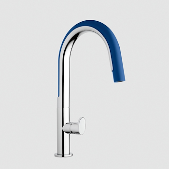 COOK 7408/C01 MISCELATORE LAVELLO CON DOCCETTA ORIENTABILE CROMATO/BLU codice prod: 740800000B01 product photo Default L2