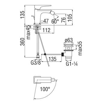 """SEVEN SEE124119 MISCELATORE BIDET SCARICO 1""""1/4 CROMATO codice prod: SEE124119/1CR product photo Foto1 L2"""