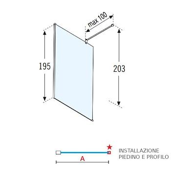 LUNES H WALK-IN 117/118,5 VETRO TRASPARENTE PROFILO SILVER codice prod: LUNESH120-1B product photo Foto2 L2