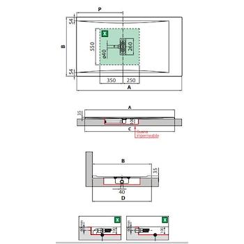 CUSTOM PIATTO DOCCIA ACRILICO 160X80 H3,5 BIANCO FONDO LISCIO codice prod: CU160804-30 product photo Foto1 L2