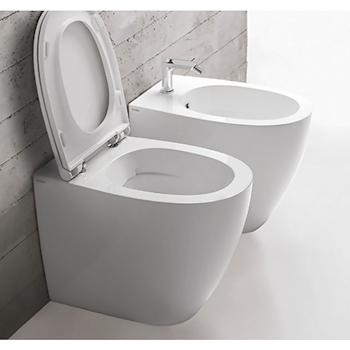 4ALL WC SENZA BRIDA MD004BI + BIDET CON FISSAGGI GHOST MD010BI + SEDILE RALLENTATO MDR20BI product photo Default L2