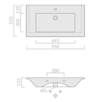 PLUS DESIGN LAVABO 1 FORO 96X52 BIANCO codice prod: 2032 product photo Foto1 L2