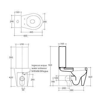 XES WC MONOBLOCCO SC/UNIVERSALE MT FISSAGGI INCLUSI BIANCO MATTE codice prod: 9910MT product photo Foto1 L2