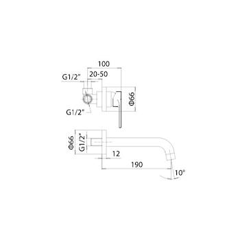 ELLISSE MISCELATORE LAVABO A PARETE INCLUSO BOCCA CROMATO codice prod: 49870000P121 product photo Foto1 L2