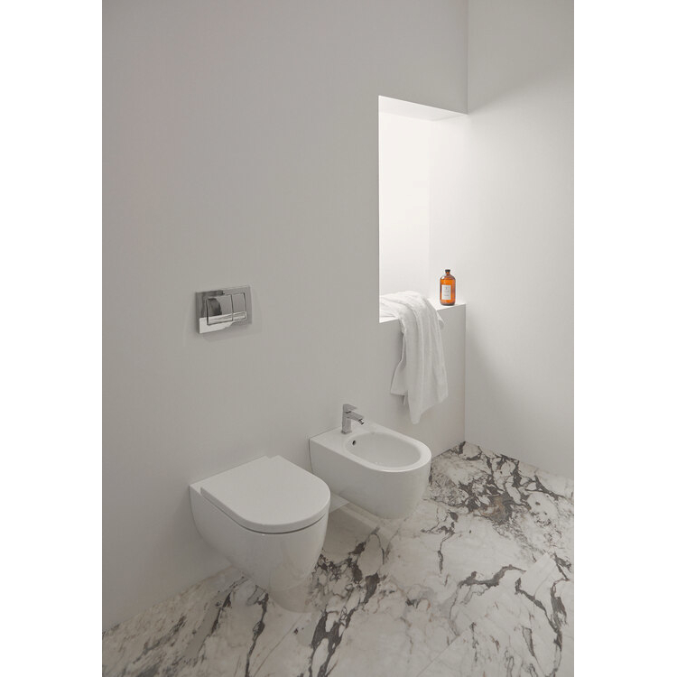 BLEND CURVE WC SOSPESO AQUABLADE® T374901   + BIDET T375001   + SEDILE BIANCO T376101 codice prod: T374901+T376101+T375001 product photo